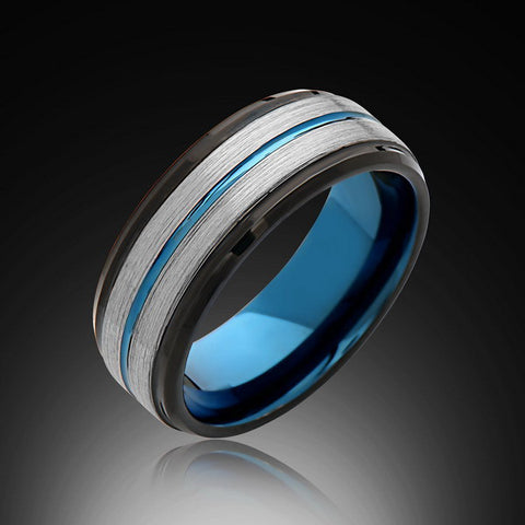 8mm,Brushed Satin Gray ,Blue Tungsten Ring,Black Mens Band,Mens Wedding Band,Comfort Fit - RING BEARER LA