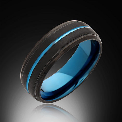 8mm,Black Satin Brushed, Blue Tungsten Ring,Unique,Mens Wedding Band,Blue Ring,Comfort Fit - RING BEARER LA