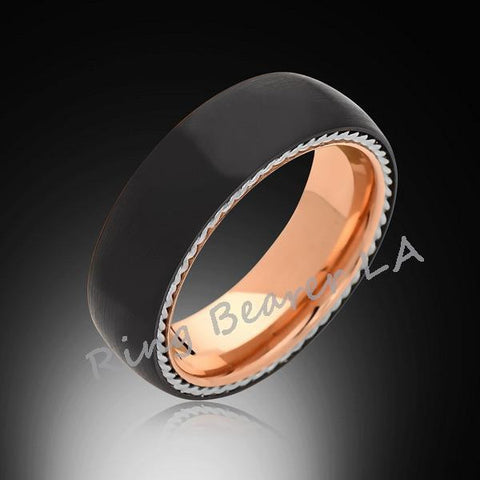 8mm,Unique,Black Satin Brushed,Silver Twisted Rope,Rose Gold Tungsten Ring,Mens Wedding Band,Comfort Fit - RING BEARER LA
