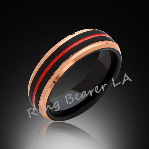 6mm,Rose Gold Tungsten,Satin,Black Brushed,Red Tungsten Ring,Men's Wedding Band,Mens Band,Comfort Fit - RING BEARER LA