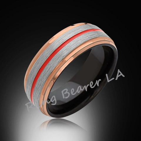 8mm,Rose Gold Tungsten,Satin,Red and Gray Brushed,Tungsten Ring,Men's Wedding Band,Mens Band,Comfort Fit - RING BEARER LA