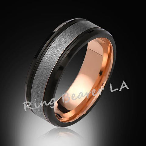 8mm,Unique,Satin Brushed Gray,Rose Gold,Tungsten Ring,Mens Wedding Band,Comfort Fit - RING BEARER LA