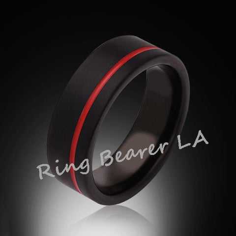 8mm,Unique,Satin Black Brushed, Red Groove,Tungsten Ring,,Wedding Band,Red Ring,Comfort Fit - RING BEARER LA