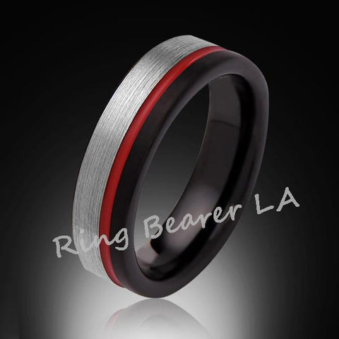 6mm,Brushed Satin,Gray and Black Brushed,Red Ring,Tungsten Ring,Comfort Fit,Red Band,Pipe Cut - RING BEARER LA