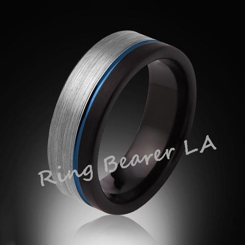 8mm,Brushed Satin,Gray and Black,Blue Tungsten Ring,Unisex,Wedding Band,Comfort Fit - RING BEARER LA
