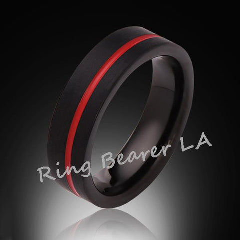6mm,Unique,Satin Black Brushed, Red Groove,Tungsten Ring,,Wedding Band,Red Ring,Comfort Fit - RING BEARER LA