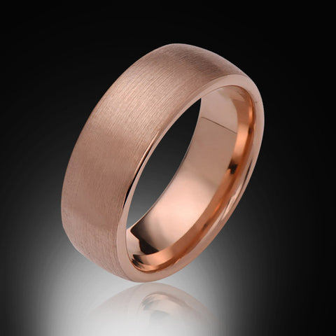 8mm,Unique,Satin Brushed Rose Gold,Rose,Tungsten Rings,Wedding Band,His and Hers,Unisex,Comfort Fit - RING BEARER LA