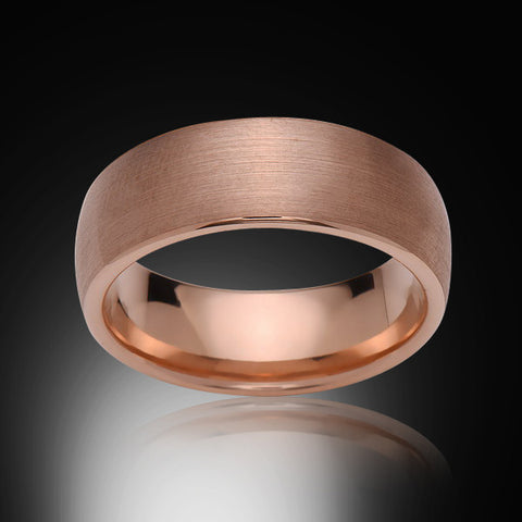 Rose Gold Tungsten Ring - Brushed - 8mm - Dome - Engagement Band - Wedding Ring -Mens Band - Unisex