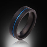 Blue Tungsten Ring - Brushed Black - Offset Groove - Engagement Band - 6MM - Mens Ring - Unisex