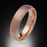 Rose Gold Tungsten Ring - Brushed - 6mm - Dome - Engagement Band - Wedding Ring -Mens Band - Unisex