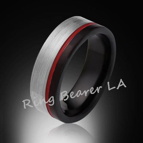 8mm,Brushed Satin,Gray and Black Brushed,Red Ring,Tungsten Ring,Comfort Fit,Red Band,Pipe Cut - RING BEARER LA