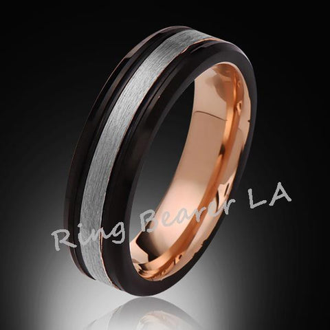 6mm,New,Unique,Satin Brushed,Rose Gold Bevleld,Tungsten Ring,,Wedding Bad,Comfort Fit - RING BEARER LA