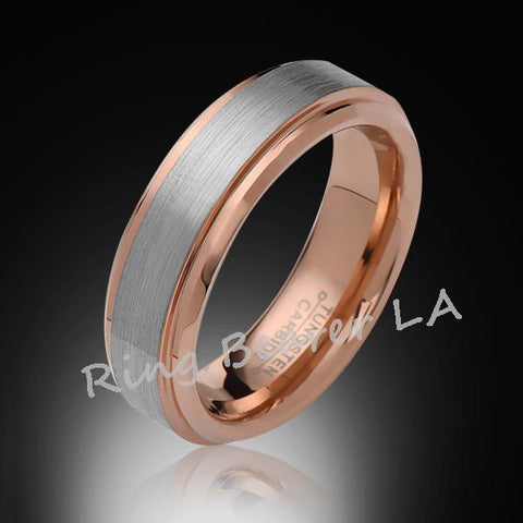 6mm,New,Unique,Satin Brushed Gray,Rose Gold,Tungsten Ring,Wedding Band,Comfort Fit - RING BEARER LA