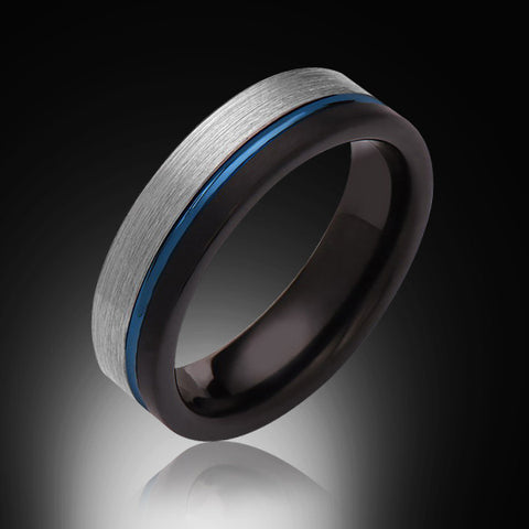 6mm,Brushed Satin,Gray and Black,Blue Tungsten Ring,Unisex,Wedding Band,Comfort Fit - RING BEARER LA