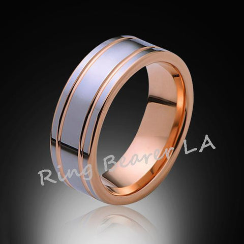 8mm,New,Unique,High Polish,Rose Gold Groove,Tungsten Rings,Wedding Band,Mens,Comfort Fit - RING BEARER LA