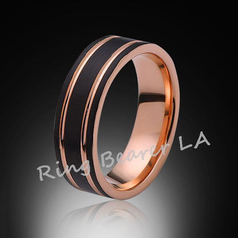 8mm,Satin Black Brushed,Rose Gold Groove,Tungsten Ring,Wedding Band,Mens Band,Comfort Fit - RING BEARER LA