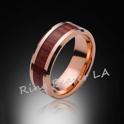 8mm,Unique,Rose Gold,Koa Wood,Tungsten RIng,Rose Gold,Wedding Band,wood inlay,Unisex,Comfort Fit - RING BEARER LA