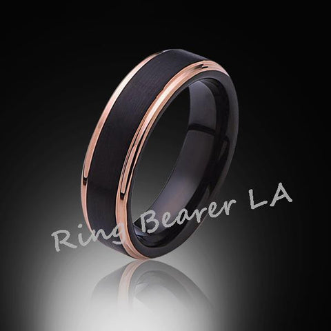 6mm,Unique,Satin Black Brushed,Rose Gold Edges,Tungsten Ring,Rose Gold,Wedding Band,unisex,Comfort Fit - RING BEARER LA