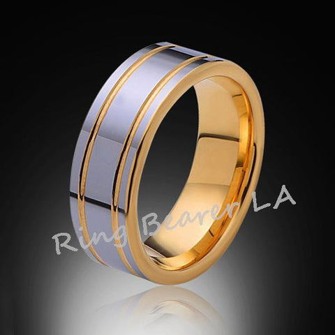 8mm,New,Pipe Cut,High Polish,Yellow Gold Groove,Tungsten Rings,Wedding Band,Unisex,Comfort Fit - RING BEARER LA
