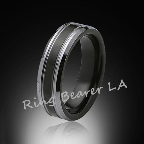 6mm,New,Unique,Black high polish Bushed,Tungsten Rings,Wedding Band,Mens Ring,Comfort Fit - RING BEARER LA