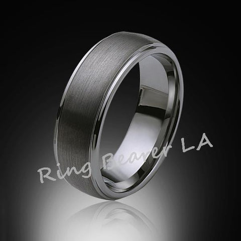 8mm,New,Satin Gray Brushed,Tungsten Rings,Mens Wedding Band,Matching,Comfort Fit - RING BEARER LA