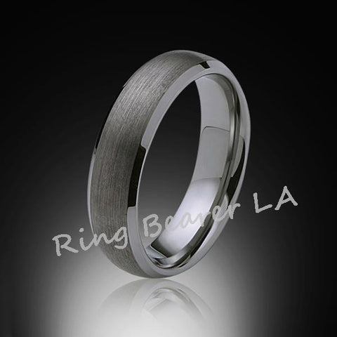 6mm,New,Unique,Satin Brushed Gray,Tungsten Rings,Wedding Band,Matching,Unisex,Comfort Fit - RING BEARER LA