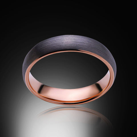 Rose Gold Tungsten Ring - Brushed Gray - 6mm - Engagement Band - Wedding Ring - Mens Band - Unisex - Promise Ring