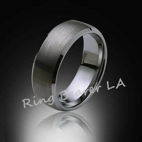 8mm,New,Satin Gray Brushed,Tungsten Rings,Wedding Band,Matching,Unisex,Comfort Fit - RING BEARER LA