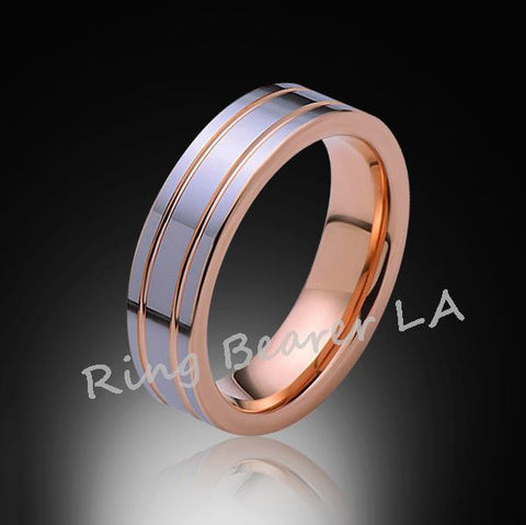 6mm,New,Unique,High Polish,Rose Gold Groove,Tungsten Rings,Wedding Band,Mens,Comfort Fit - RING BEARER LA