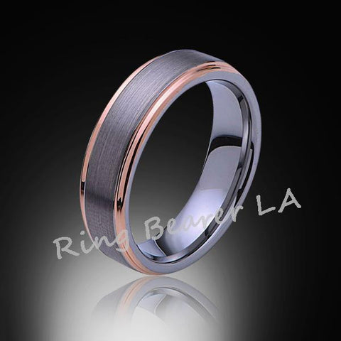 6mm,New,Unique,Satin Brushed Gray,Rose Gold Edges,Tungsten Ring,Wedding Band,Comfort Fit - RING BEARER LA