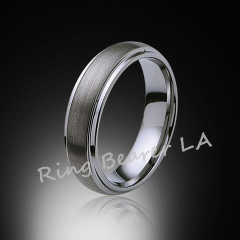 6mm,New,Unique,Satin Gray Bushed,Tungsten Rings,Wedding Band,Matching,Unisex,Comfort Fit - RING BEARER LA