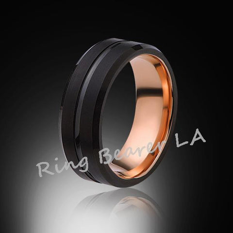 8mm,Satin,Black Brushed,Rose Gold ,Black Groove,Tungsten Ring,Rose Gold,Wedding Band,Comfort fit - RING BEARER LA