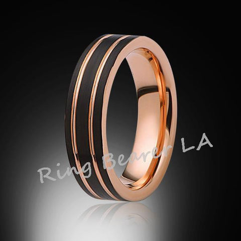 6mm,Unique,Satin Brushed,Black,Rose Gold Grooves,Tungsten Ring,Unisex,Comfort Fit - RING BEARER LA