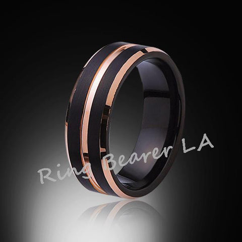 8mm,Brushed Satin,l Black Ring,Rose Gold,Tungsten Ring,Wedding band,Comfort Fit - RING BEARER LA