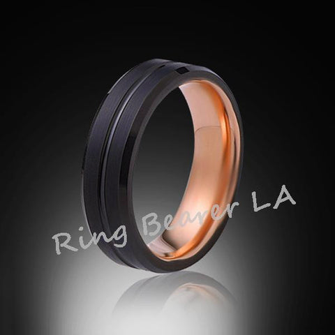 6mm,Unique,Black Satin Brushed,Rose Gold,Tungsten Ring,Rose Gold,Wedding Band,Unisex,Comfort Fit - RING BEARER LA
