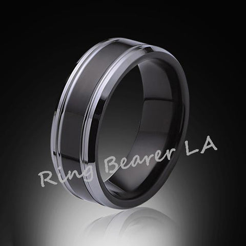 8mm,New,Unique,Black high polish Bushed,Tungsten Rings,Wedding Band,Mens Ring,Comfort Fit - RING BEARER LA