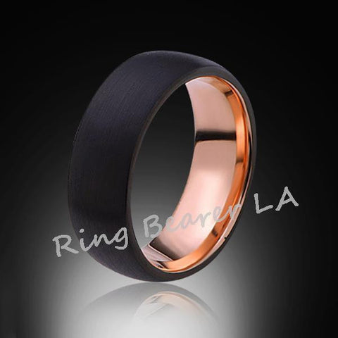 8mm,Satin,Black Brushed,Rose Gold,Tungsten Ring,Rose Gold,Wedding Band,Mens Ring,Comfort Fit - RING BEARER LA