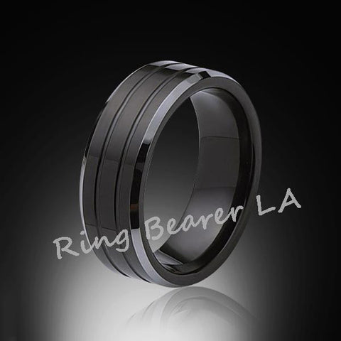 8mm,New,Black high polish Bushed,Tungsten Rings,Wedding Band,Matching Bands,Comfort Fit - RING BEARER LA