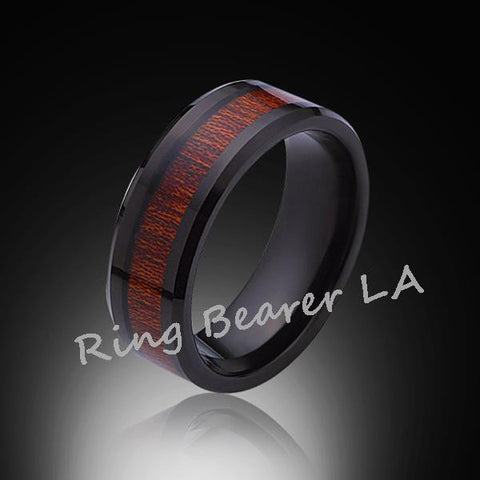 8mm,Unique,Black, Koa Wood Ring,Tungsten black,Wedding Band,Wood inlay,Unisex,Comfort Fit - RING BEARER LA