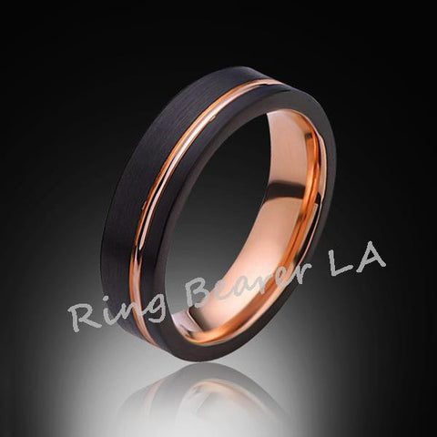 6mm,Unique,Black Satin Brushed,Rose Gold,Groove,Tungsten Ring,Wedding Band,Unisex,Comfort Fit - RING BEARER LA