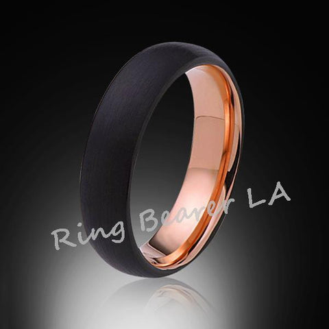 6mm,Unique,Black Satin Brushed,Rose Gold,Tungsten Ring,Wedding Band,Unisex,Comfort Fit - RING BEARER LA