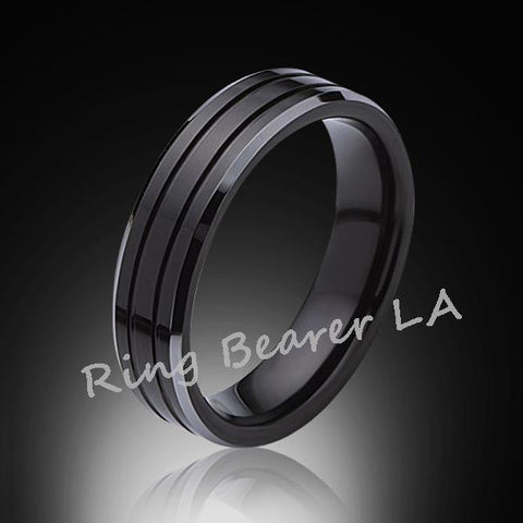 6mm,New,Black high polish Bushed,Tungsten Rings,Wedding Band,Matching Bands,Comfort Fit - RING BEARER LA