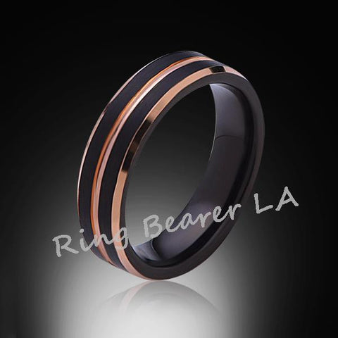 6mm,Brushed Satin,l Black Ring,Rose Gold,Tungsten Ring,Wedding band,Comfort Fit - RING BEARER LA