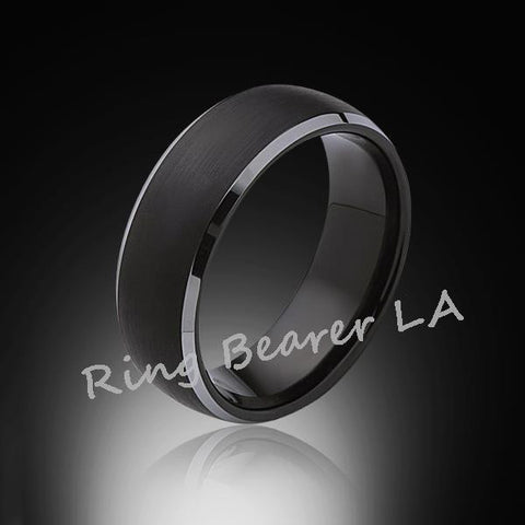 8mm,New,Unique,Black Satin Brushed,Tungsten Rings,Wedding Band,Matching,Comfort Fit - RING BEARER LA