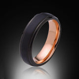 Rose Gold Tungsten Ring - Brushed Black - Stepped Edges - 6mm - Engagement Band - Wedding Ring - Mens Band - Unisex