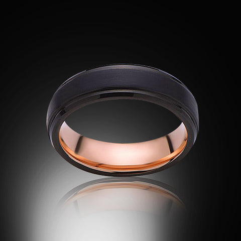 Rose Gold Tungsten Ring - Brushed Black - Stepped Edges - 6mm - Engagement Band - Wedding Ring - Mens Band - Unisex - RING BEARER LA