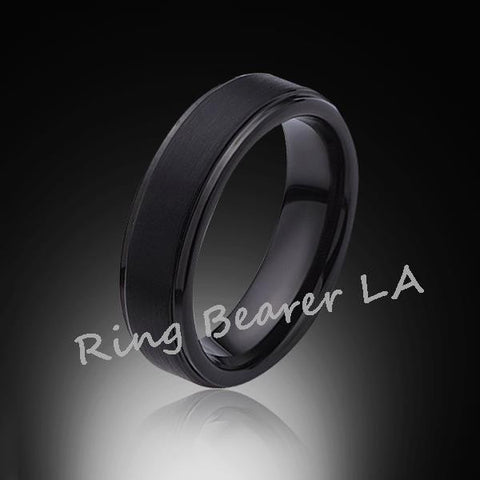 6mm,New,Unique,Black Satin Brushed,Tungsten Rings,Wedding Band,Matching,Comfort Fit - RING BEARER LA