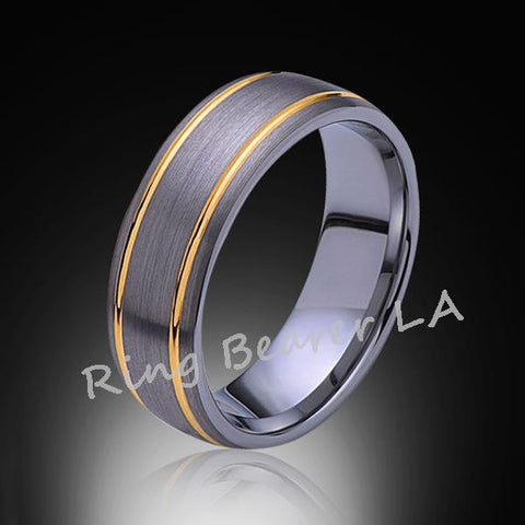 8mm,Unique,Brushed Satin Gray,Yellow, Gold Grooves,Tungsten,Wedding Band,Comfort Fit - RING BEARER LA
