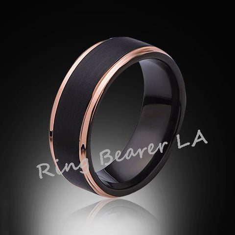 8mm,Satin,Brushed Black,Rose Gold Edges,Tungsten Ring,Rose Gold,Mens Wedding Band,Comfort Fit - RING BEARER LA