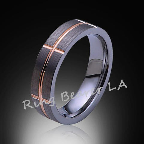 6mm,Unique,Satin Brushed Gray,Rose Gold Groove,Tungsten Ring,Unisex,Comfort Fit - RING BEARER LA